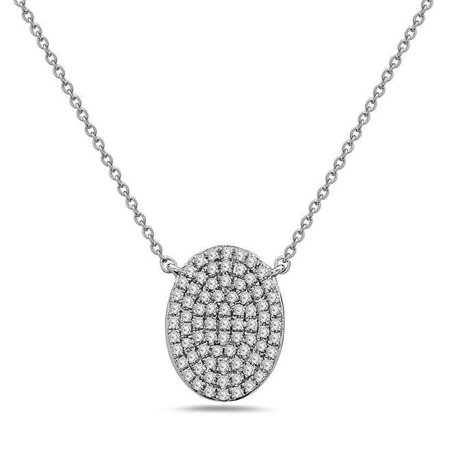 Oval shape diamond disc pendant