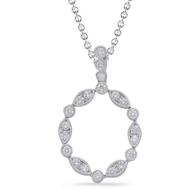 Diamond pod pendant - white gold
