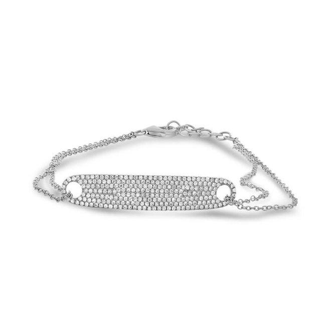 Diamond tag bracelet - white gold