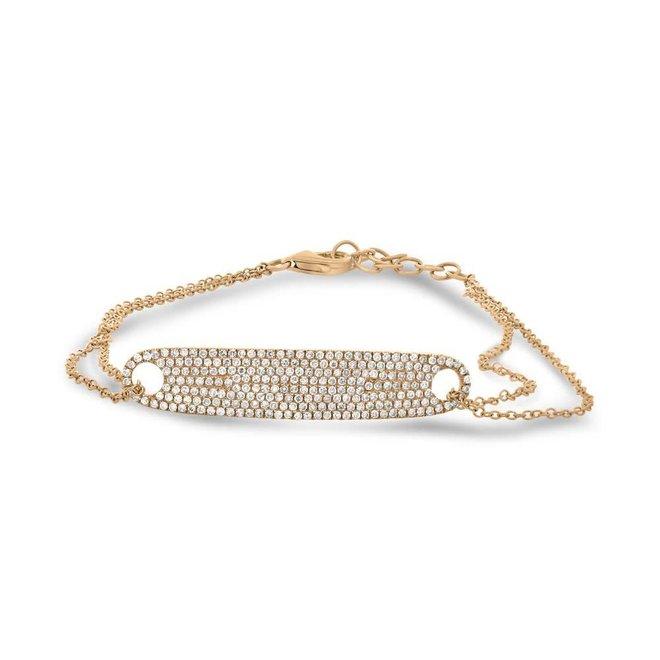 Diamond tag bracelet - rose gold