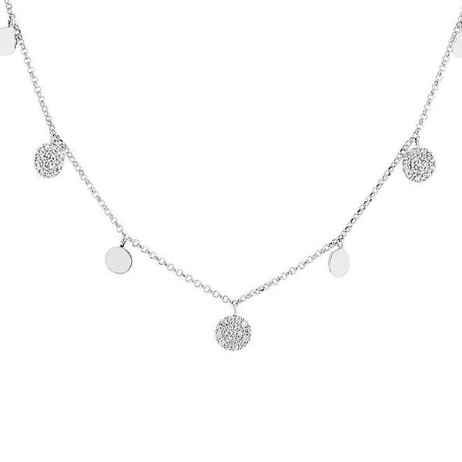 Diamond disc drop necklace - white gold