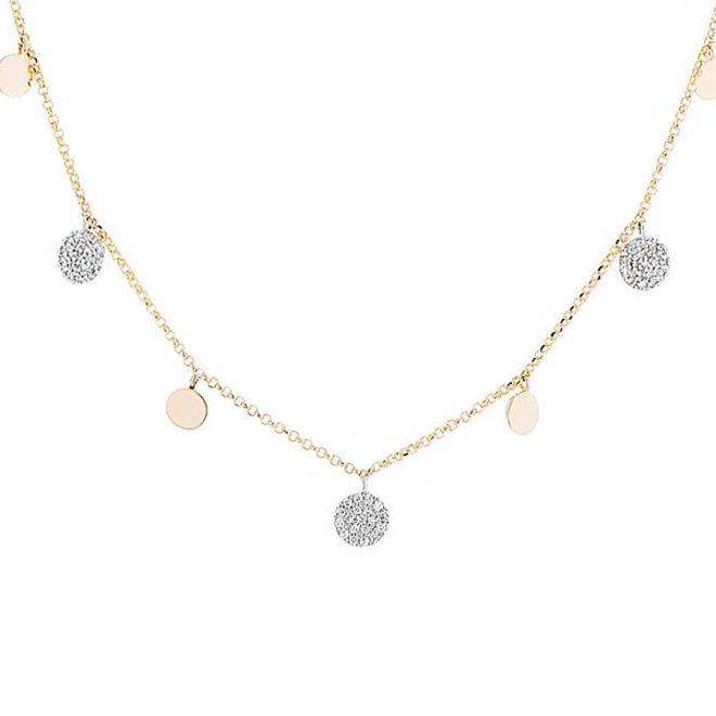 Diamond disc drop necklace - yellow gold