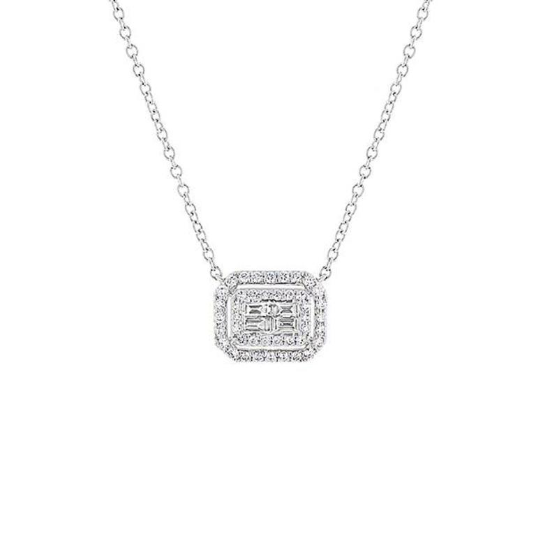 97d636358ddd9 NADO. 18k White gold baguette and round diamond double halo necklace ...