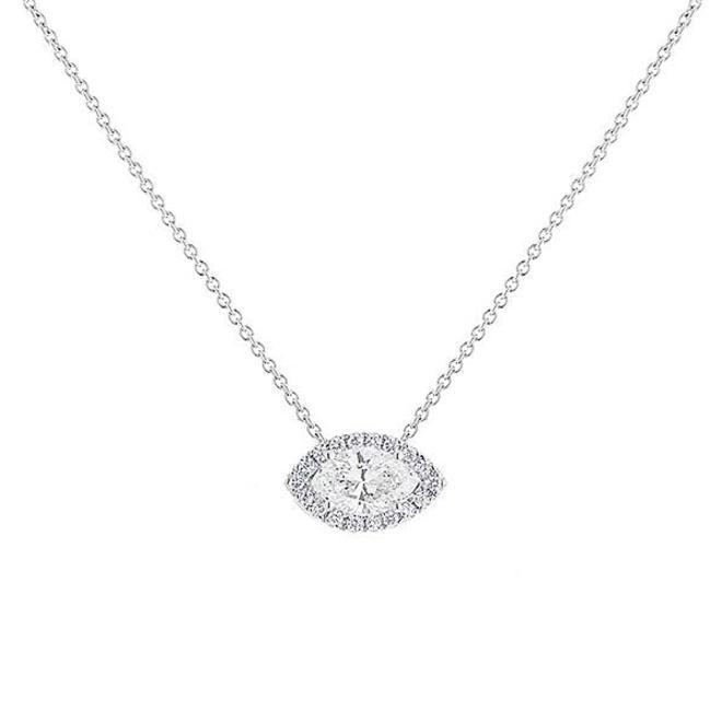 Marquise diamond halo pendant - white gold