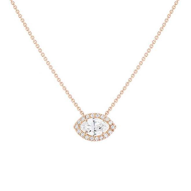 Marquise diamond halo pendant - rose gold
