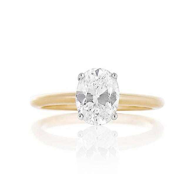 Oval diamond solitaire engagement ring - mount only