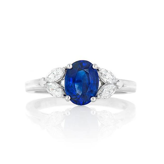 Sapphire and marquise diamond ring