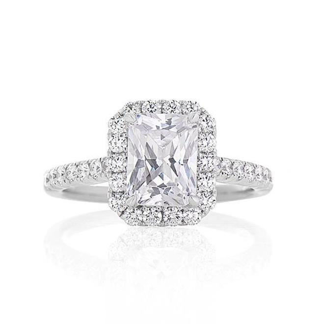 The Aimee - Radiant cut diamond halo engagement ring