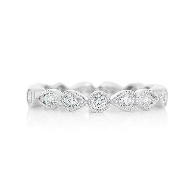 Double pear shaped diamond stackable band - white gold