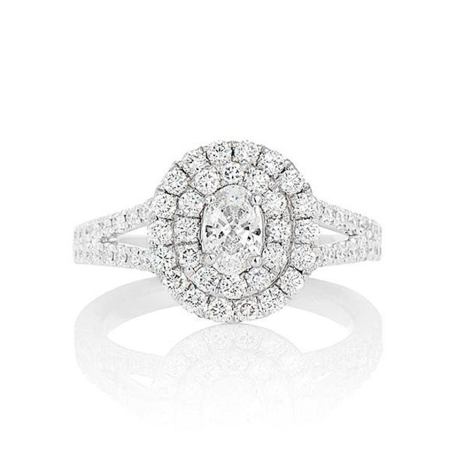 The Chloe - double halo oval cut engagement ring