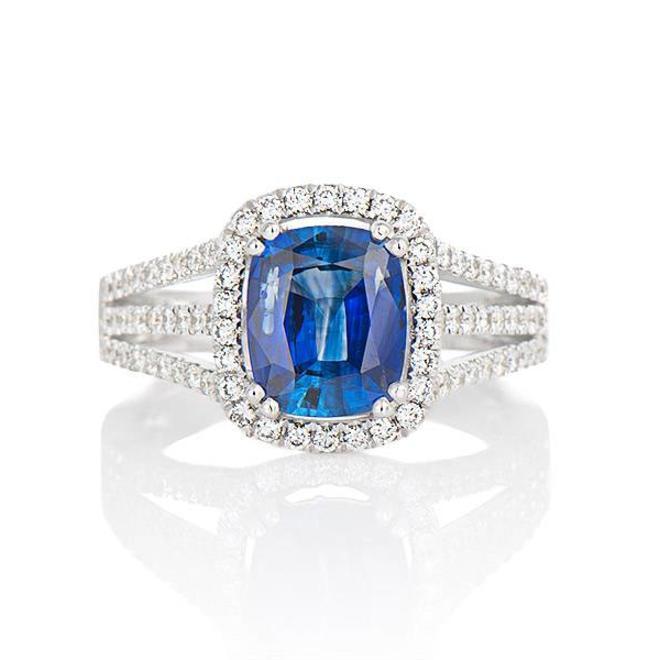 Diamond and sapphire halo ring- custom
