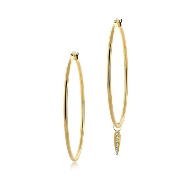 Diamond leaf hoop charms - pair