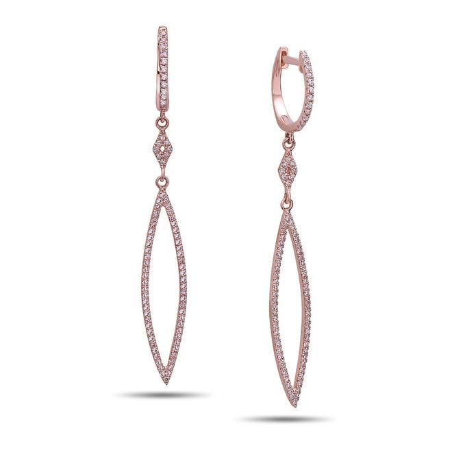 Diamond drop earrings - rose gold