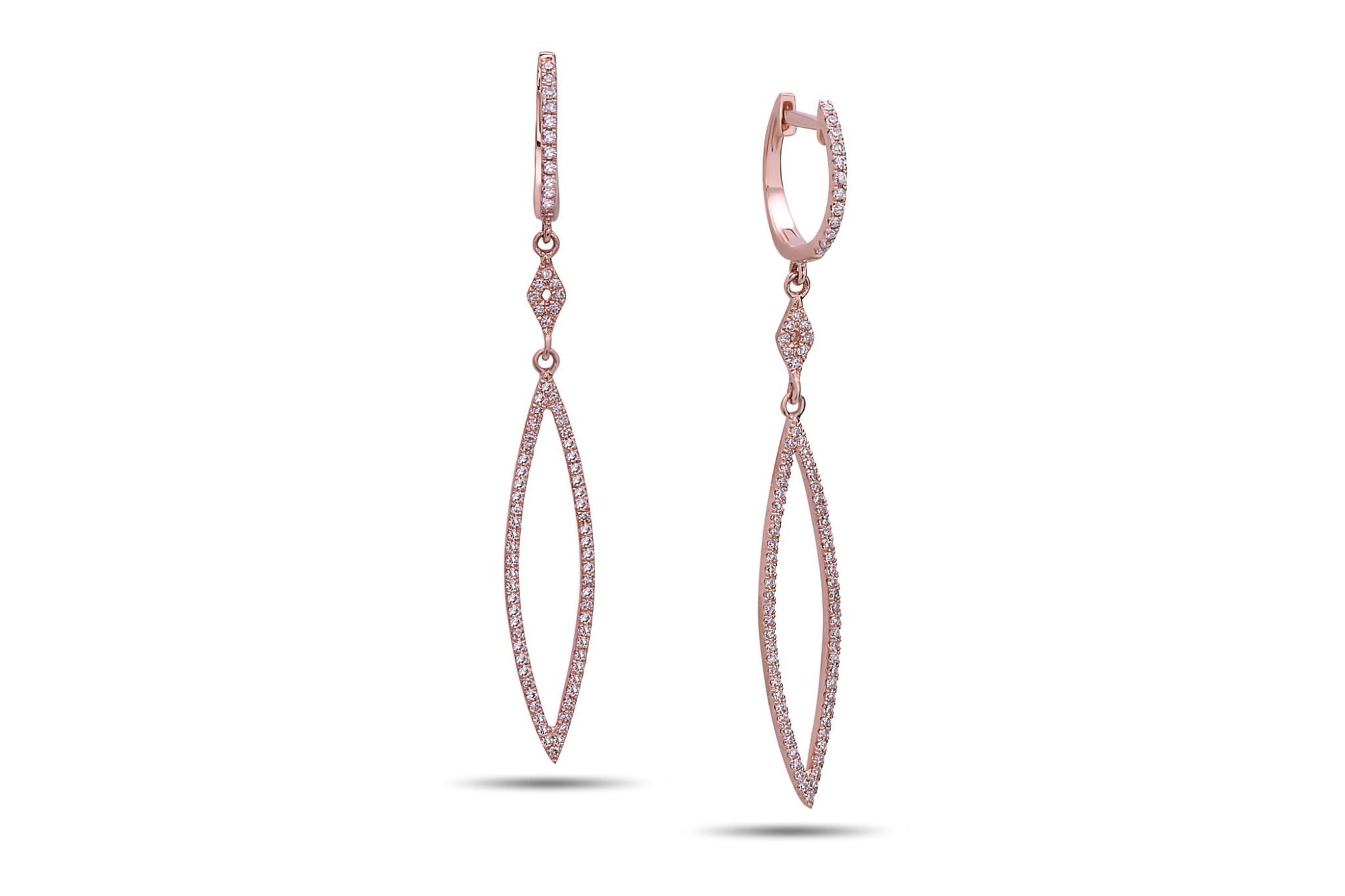e9be3a214258fb AE81235D-800R. 14k rose gold diamond marquise shape dangle earring ...