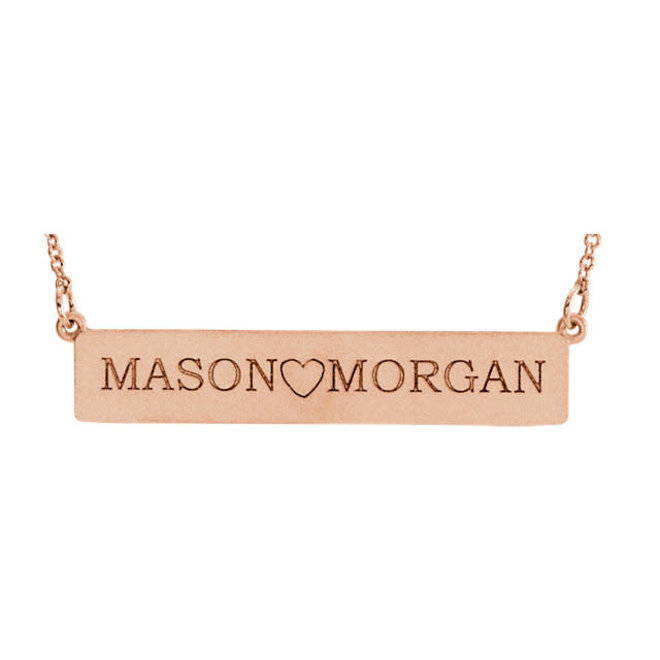 Rose gold engrave-able bar necklace