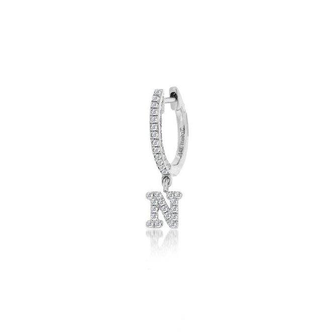 Personalized diamond initial hoop earring
