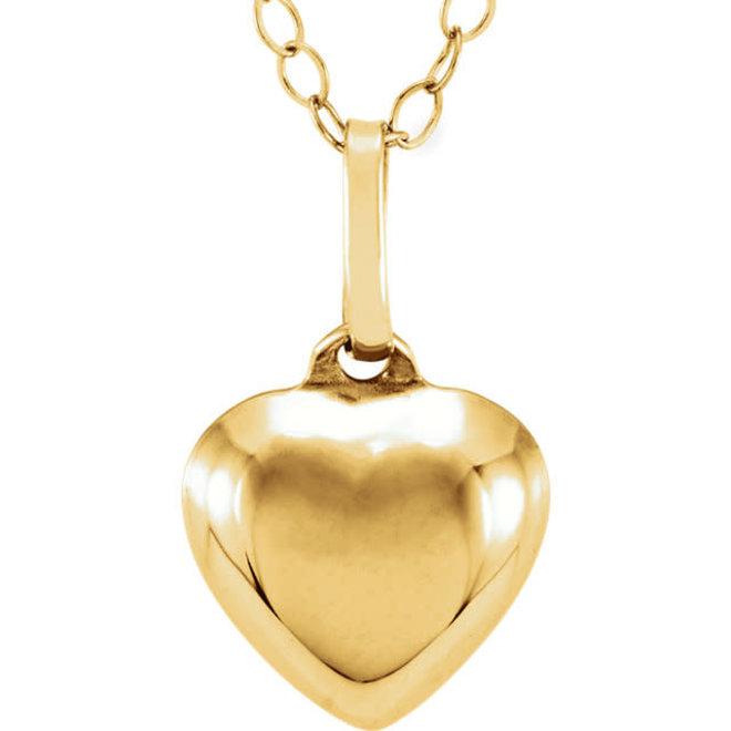 Children's puffed heart necklace