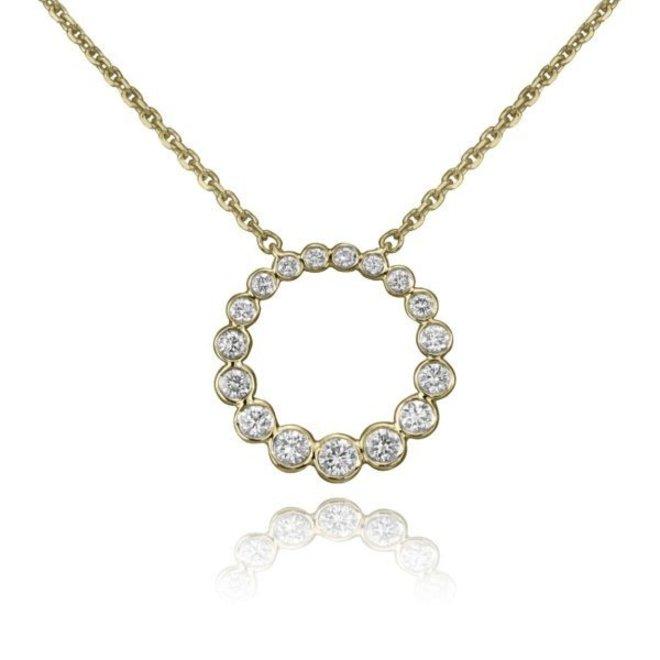 Petite diamond bezel circle pendant-yellow gold