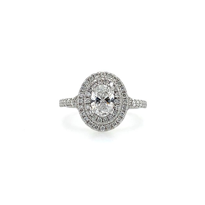Double halo oval cut diamond engagement ring