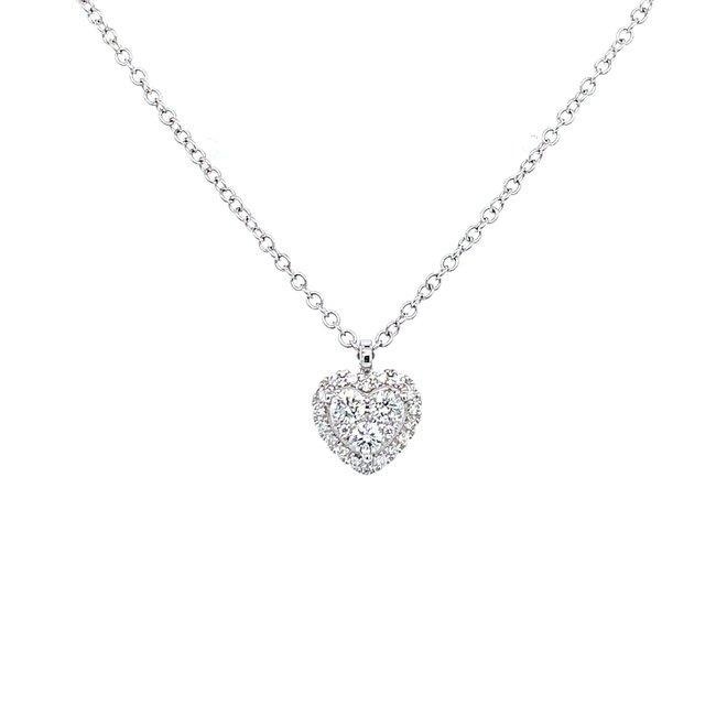 Heart shaped cluster diamond pendant