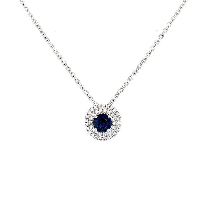 Sapphire and double diamond halo pendant