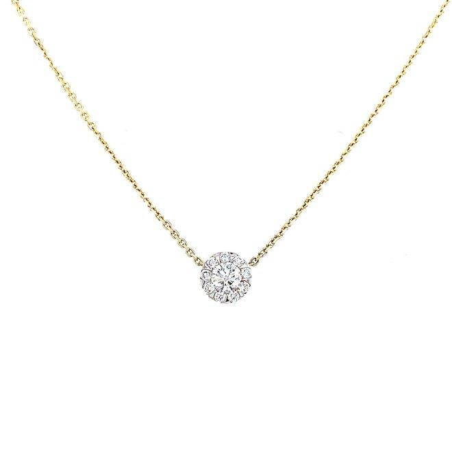 Floating diamond cluster pendant-yellow gold
