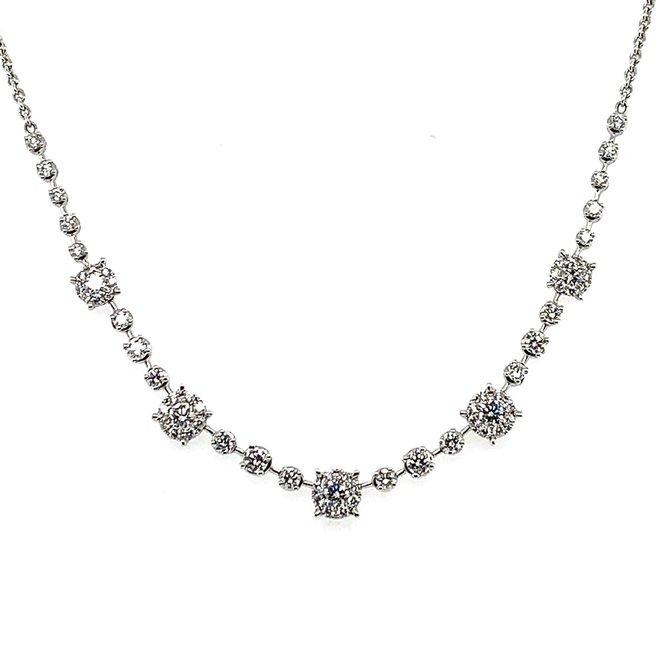 Diamond cluster collar necklace