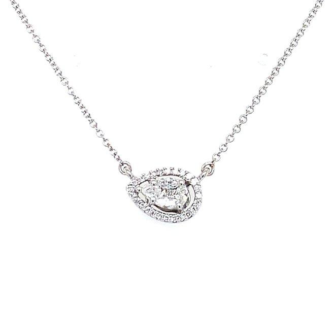 Pear shape cluster diamond necklace