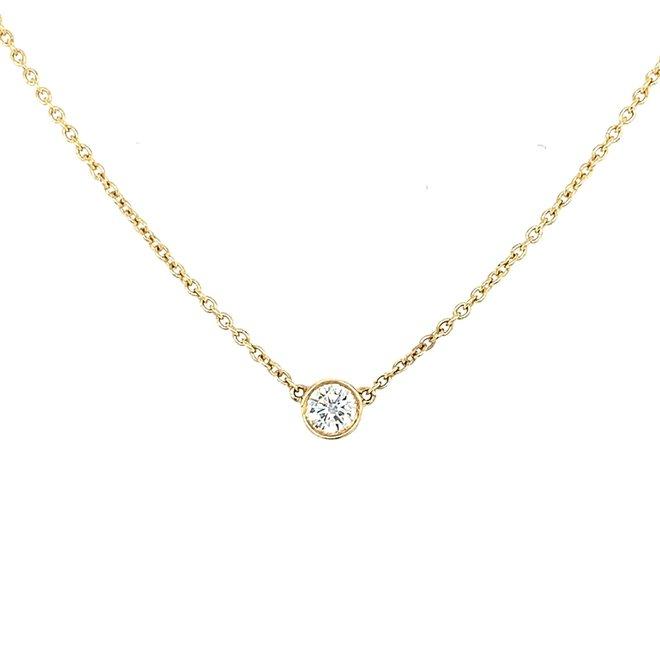 Yellow Gold Bezel Set Diamond Necklace