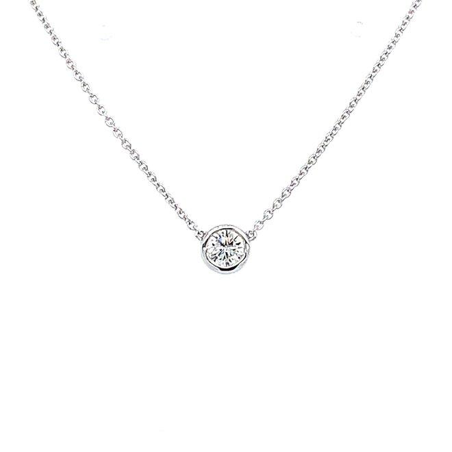 Bezel set diamond necklace-large