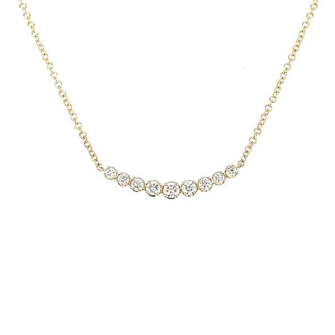 Nine diamond necklace-yellow gold
