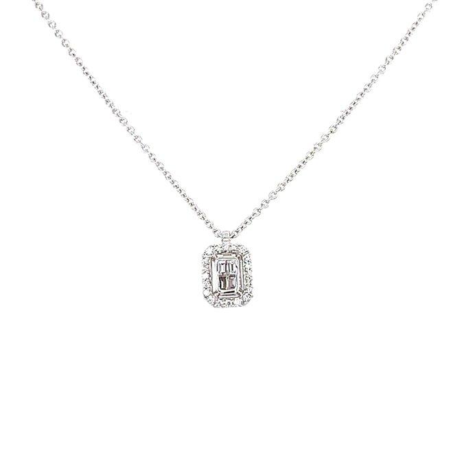 Emerald shape diamond pendant