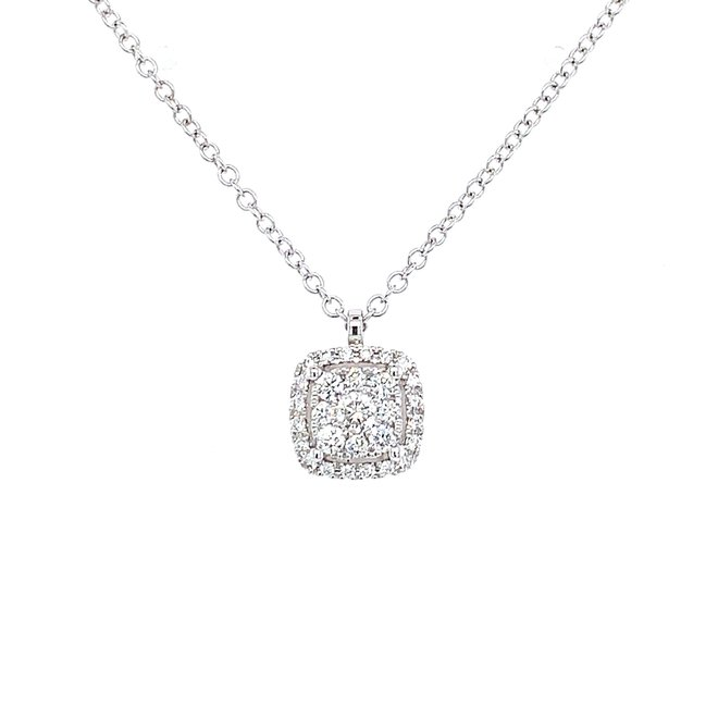 Cushion shaped diamond cluster necklace
