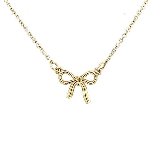 Yellow gold bow pendant