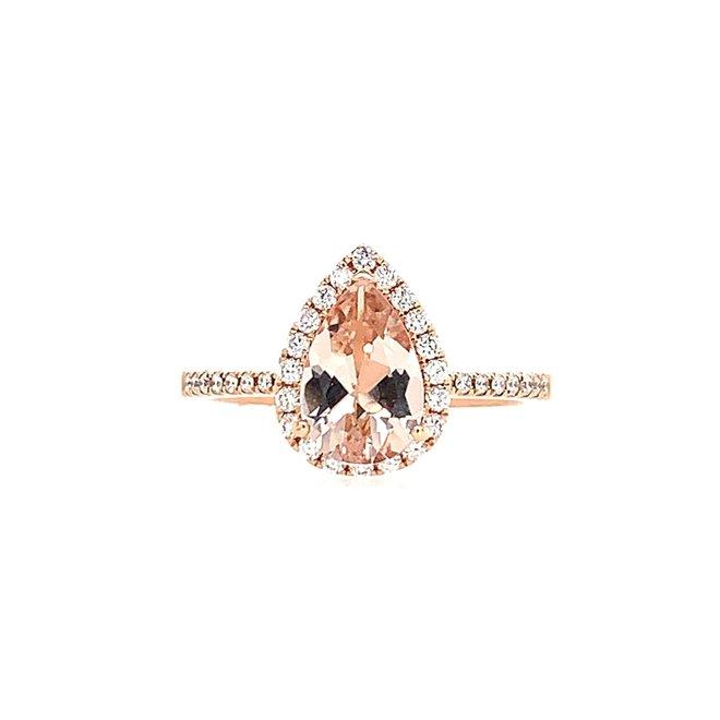 Pear shape morganite and diamond ring