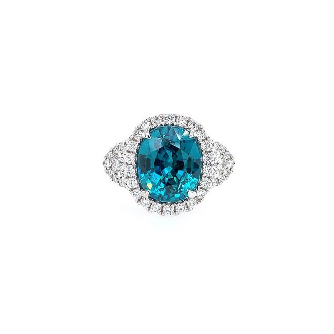 Boutique style blue zircon and diamond ring