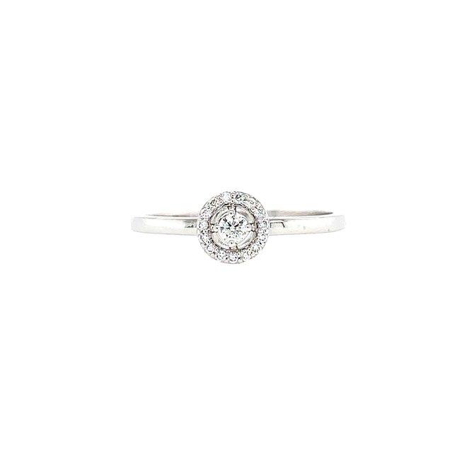 Petite diamond halo ring