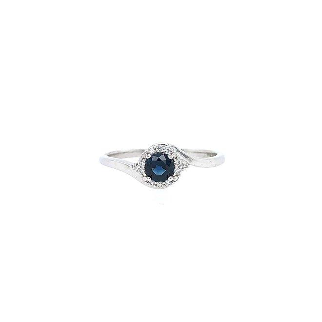 Diamond and sapphire halo ring