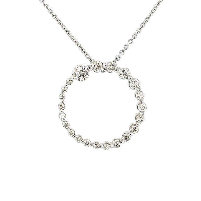 Graduated diamond circle pendant