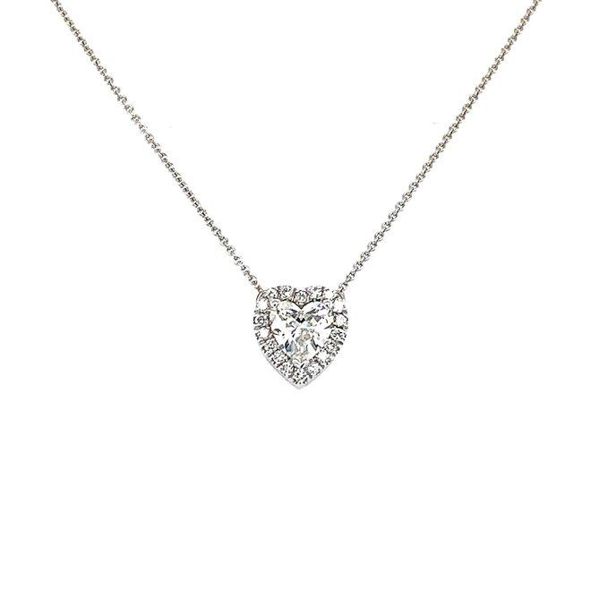 Heart diamond halo pendant