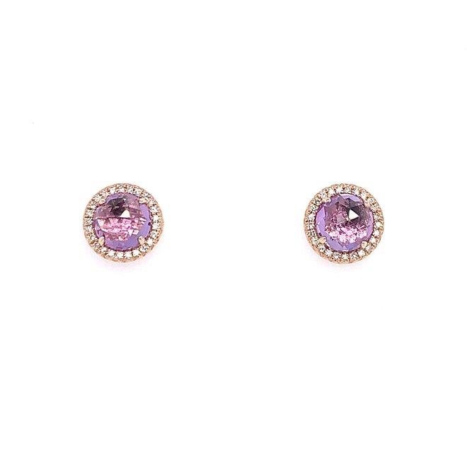 Pink amethyst and diamond earrings