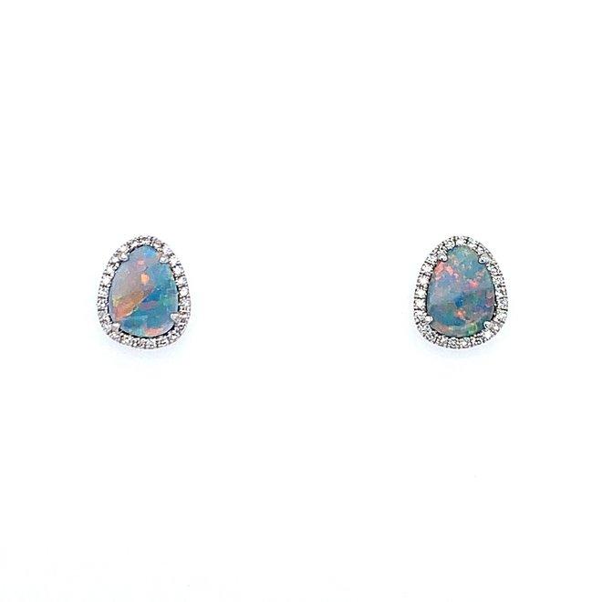 Black opal and diamond halo stud earrings