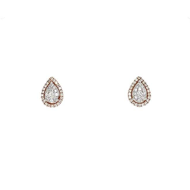 Pear shape diamond stud earrings-rose gold