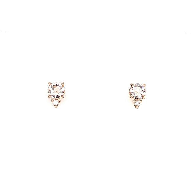 Morganite And Diamond Stud Earrings