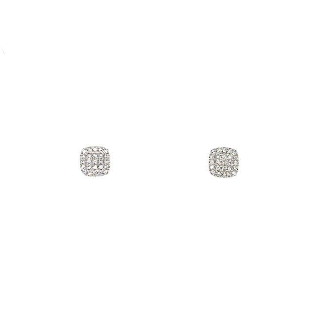 Cushion shape diamond stud earrings-white gold