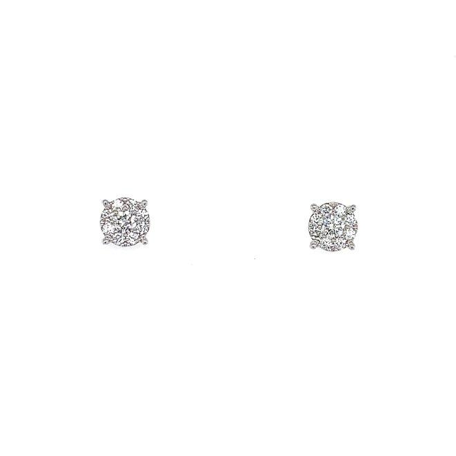 Round Cluster Stud Earrings