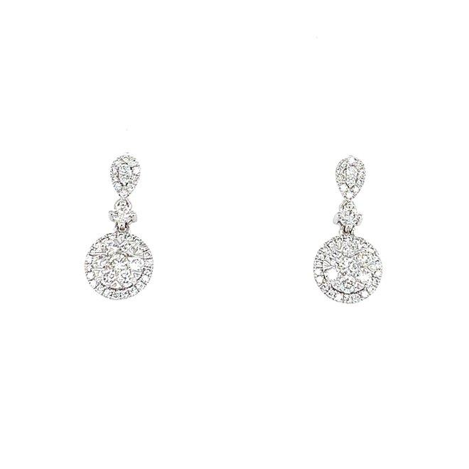Ladies Diamond Cluster Earrings