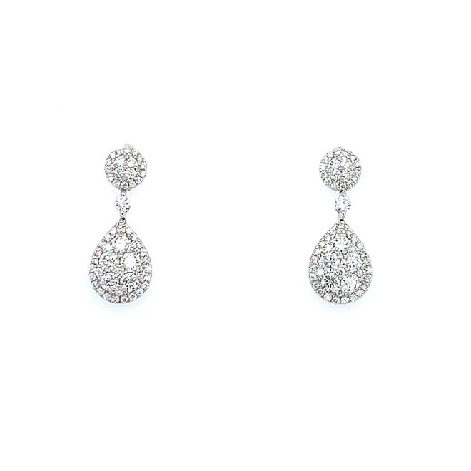 Diamond Cluster Drop Earrings