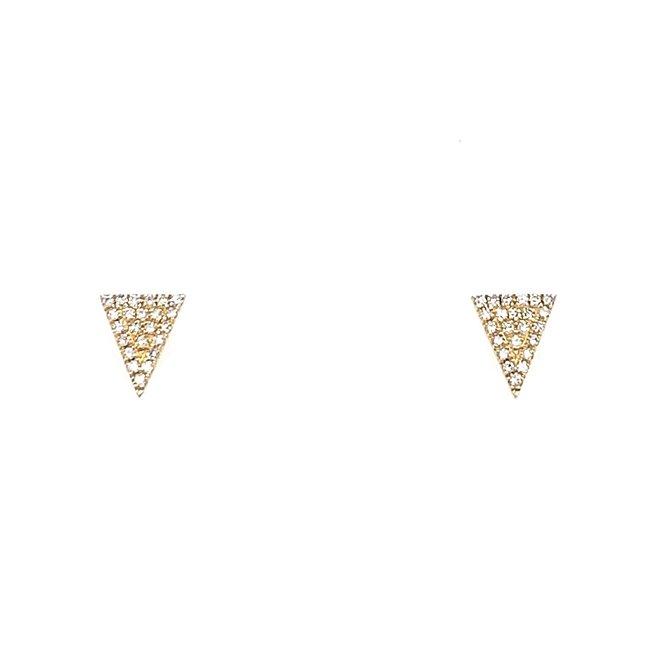 Triangle shaped diamond studs-yellow gold