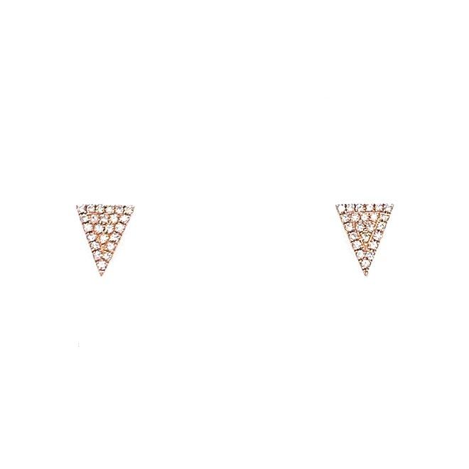Triangle shaped diamond studs-rose gold
